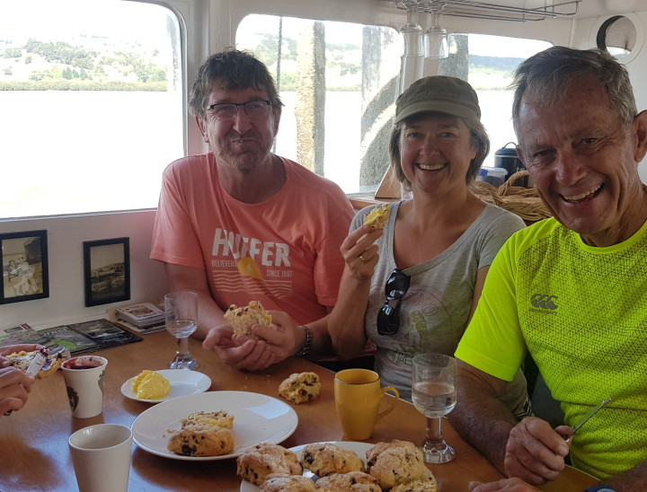 Fresh scones and coffee on the Ranui Ferry